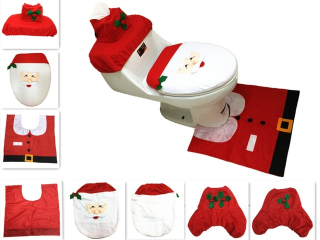 3pcs Set Navidad Santa Ornament Snowman Toilet Seat Cover Rug