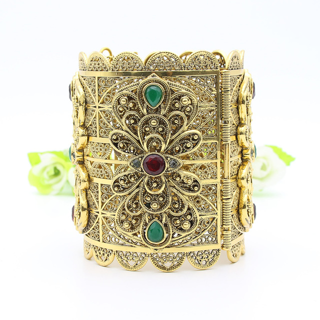 Ethnic Women Super Size Flower Resin Bangle Cuff Antique Gold Color