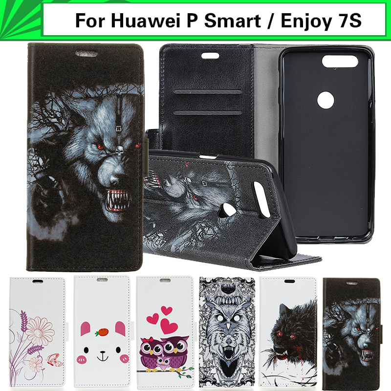 EiiMoo Mobile Phone Case Fundas For Huawei P Smart Psmart Case Wallet Leather Flip Cover Case For Huawei P Smart / Enjoy 7S Case