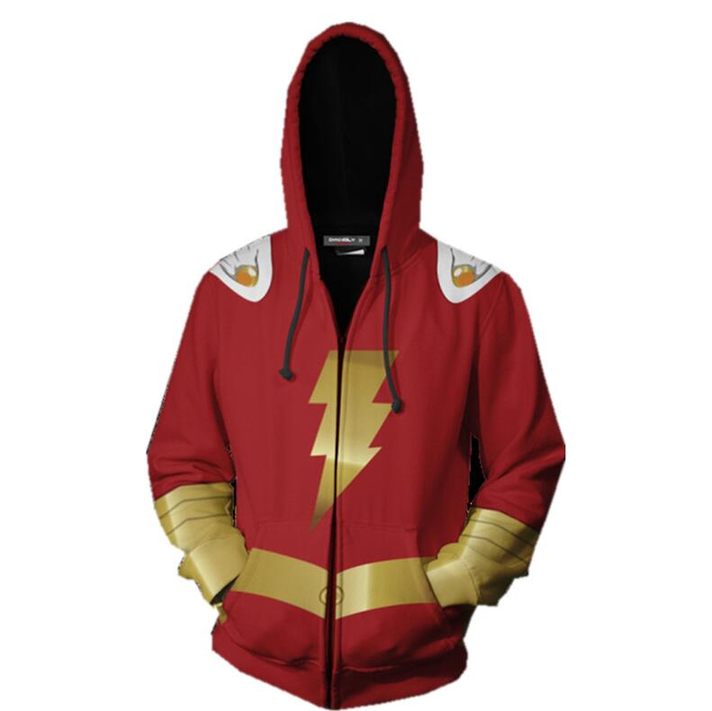 high quality Men Boys Captain Marvel Shazam Cosplay Costumes Hoodies Billy Batson Superhero Fashion Zipper Sweatshirts Jacket