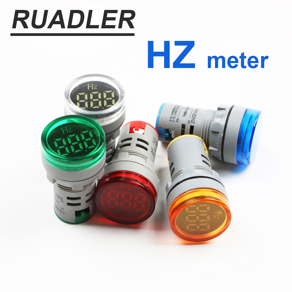 Free Shipping Digital Display Electricity Hertz Meter Frequency Meter Indicator Light AC Meter Red Tester 0-99Hz Green White
