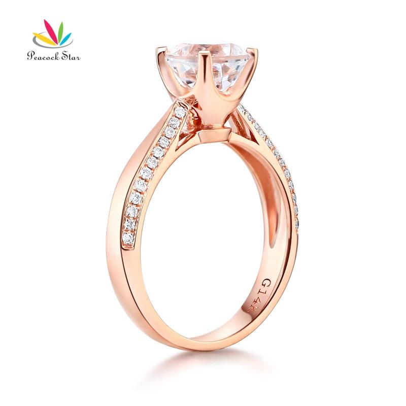 Peacock Star 14K Rose Gold Bridal Wedding Engagement Ring 1.2 CT Topaz 0.2 CT Natural Diamond