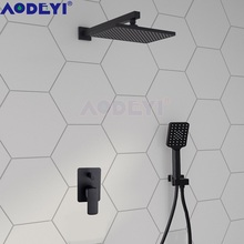 Black Brass Shower System Wall Mounted Square Equipment Hot & Cold Mix 3 Functions handheld Head Bathroom Sets 16-032BS