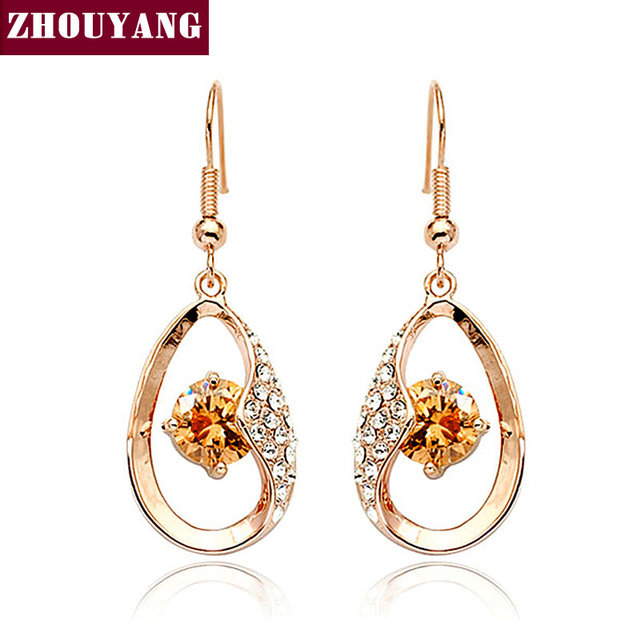 ZHOUYANG ZYE002 Water Drop  Rose Gold Plated Drop Earrings Jewelry Made with Genuine  Austrian Crystal  Wholesale