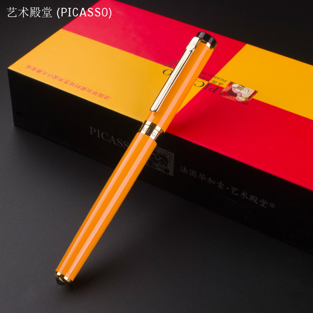 Merveilleux Art Palace Picasso 908 Orange Gold Clip Fountain Pen School Office  Stationery Luxury Writing Gift Ink