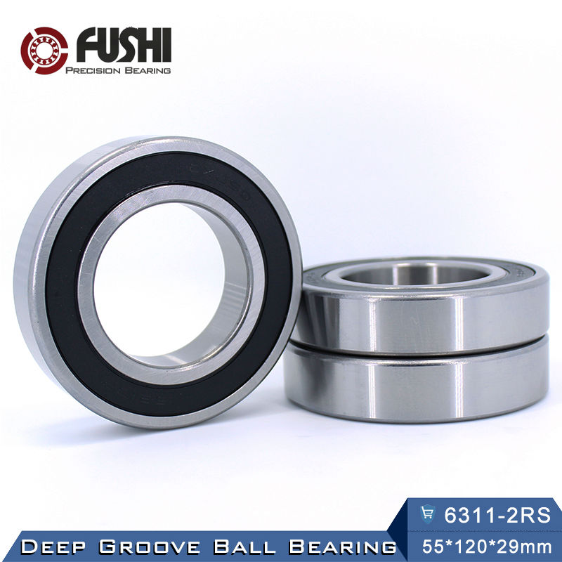 6311RS Bearing ABEC-3 (1 PCS) 55*120*29 mm Deep Groove 6311-2RS Ball Bearings 6311RZ 180311 RZ RS 6311 2RS EMQ Quality 6312rs bearing abec 3 1 pcs 60 130 31 mm deep groove 6312 2rs ball bearings 6312rz 180312 rz rs 6312 2rs emq quality