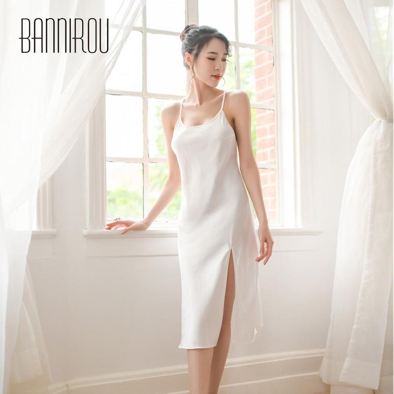 Woman   Nightgowns   Sexy Solid Silk Stain Slip Female   Sleepshirts   Sleep Home Wear Sleeveless Backless Lingerie For Woman BANNIROU