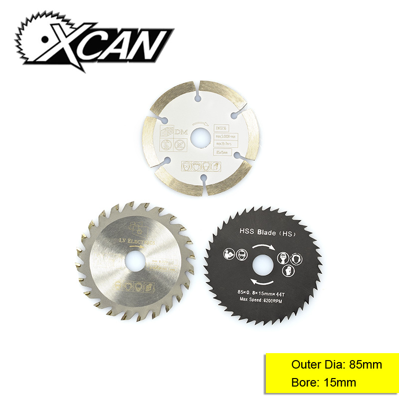 XCAN 3pcs Diameter 85mm  Bore 15mm Multi-function Circular Saw Blade Kit Wood Cutting Disc Power Tools Accessories Saw Blade