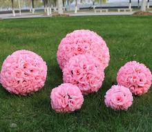 lastest new fashion leafless 30cm(11.8inch) Romantic Simulation Rose kissing ball artificial silk flower for wedding party decor