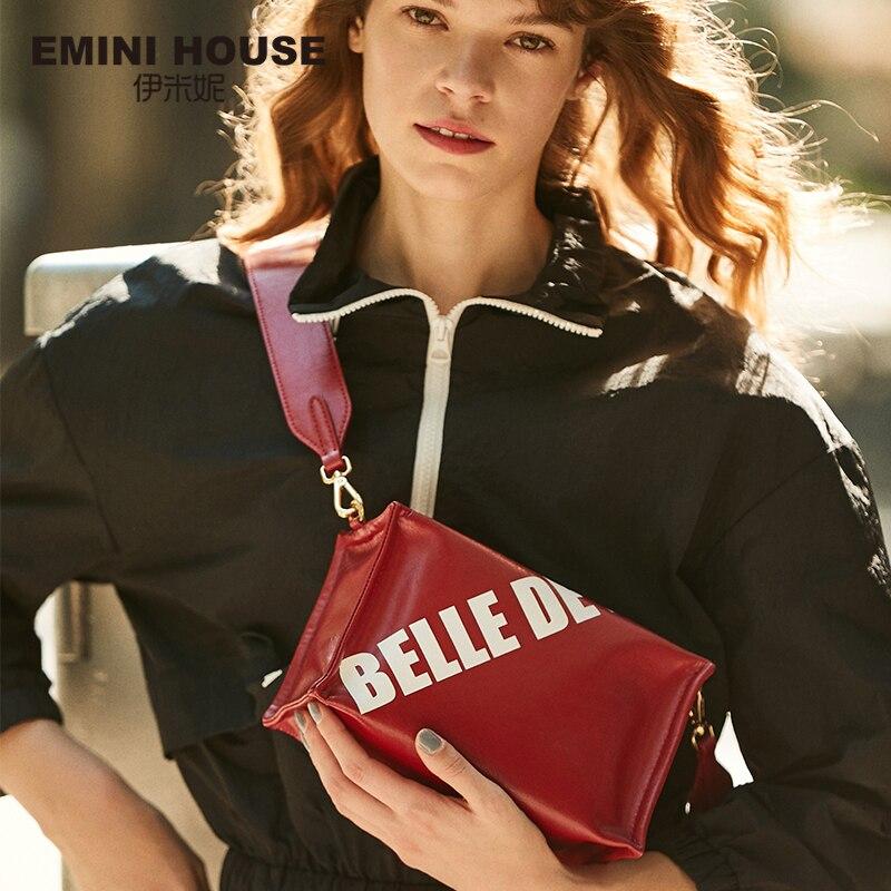 EMINI HOUSE Letter Element Oil Wax Leather Square Bag Luxury Handbags Women Bags Designer Crossbody Bags