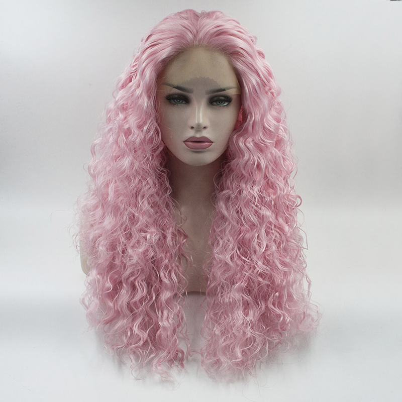 Marquesha Water Wave Synthetic Lace Front Wig Loose Curly Heat Resistant Fiber Wig Light Pink Color With Baby Hairs For Women