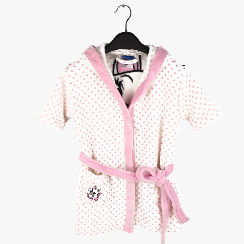 Girls White Bathrobe With Hood Coral Fleece Printed Cat Marie White Roupao  Infantil Kids Pajamas Robe Night Gown for Children-in Robes from Mother    Kids on ... e1c446dc4