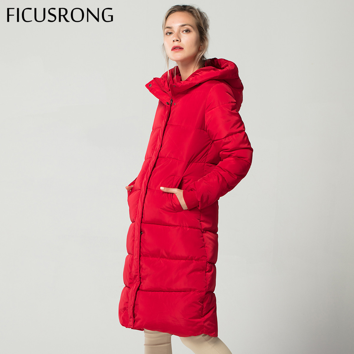 Fashion Winter Jacket Women Thick Warm Female Down Jacket Cotton Coat Down   Parkas   Long Women Hooded Coat 2018 New FICUSRONG