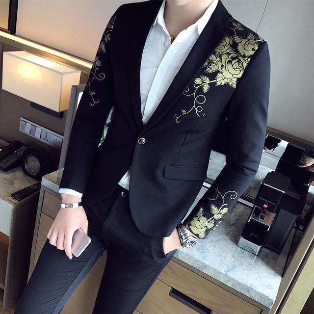 Men's Floral Printed Slim Fit  Blazer