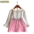 Menoea 2017 New Autumn Fashion Girls Dress Princess Dresses Children Clothing Cute Flare Sleeve Girls Clothes Long Sleeve