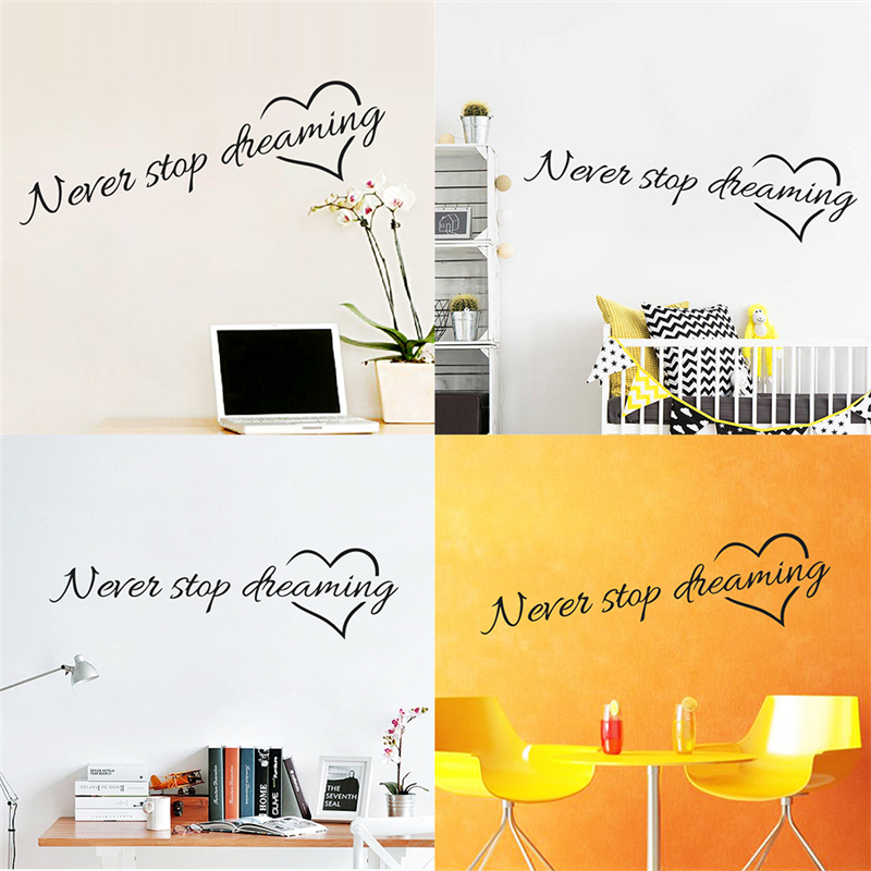 11x 58cm Never stop dreaming inspirational quotes wall art bedroom ...