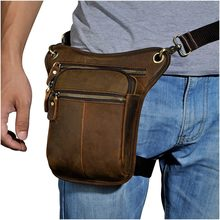 Hot Sale Crazy Horse Real Leather Design men vintage Brown Small Belt Messenger Bag Waist Pack Drop Leg Bag Pouch 211-2(China)