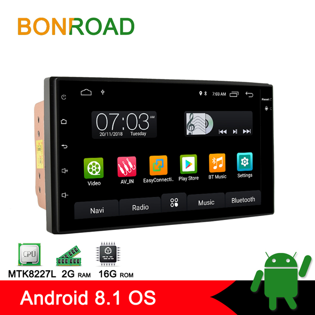Bonroad 2din Android 8,1 Автомобильный мультимедийный плеер для Nissan, qashqai, hyundai, Kia, Toyota, Lada универсальный автомобильный Радио gps навигация