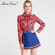 MoaaYina Fashion Designer Set Spring Summer Women Long sleeve Floral Print Elegant Shirt Tops+Shorts Two piece suit