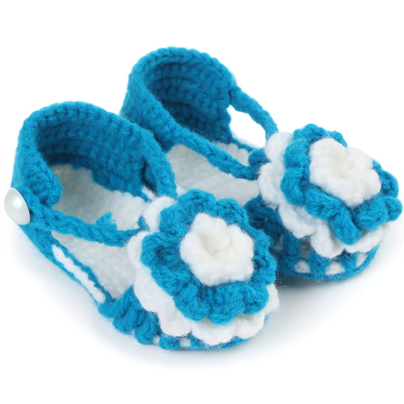 Free Shipping Crochet Baby Shoes, Baby girl White Flowers Flip Flops, Baby Toddler shoes