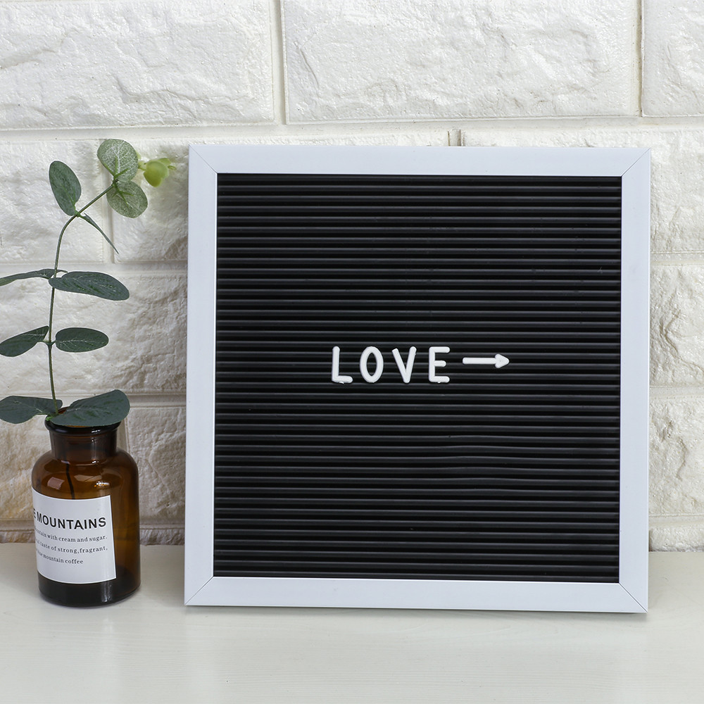 1Felt Letter Board with 143 letters Numbers symbol Sign Message Home Office Decor Board Oak Frame Letters 25*25cm