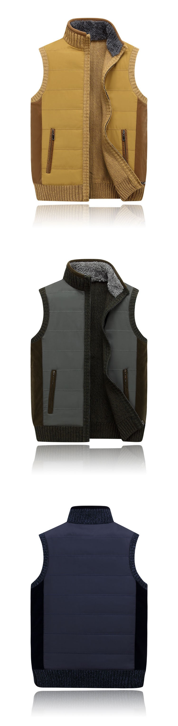 Aolamegs Men Vest Sweater Stand Collar Sleeveless Cardigan Outwear Zipper Sweatercoat 2016 High quality brand clothing Plus Size (7)