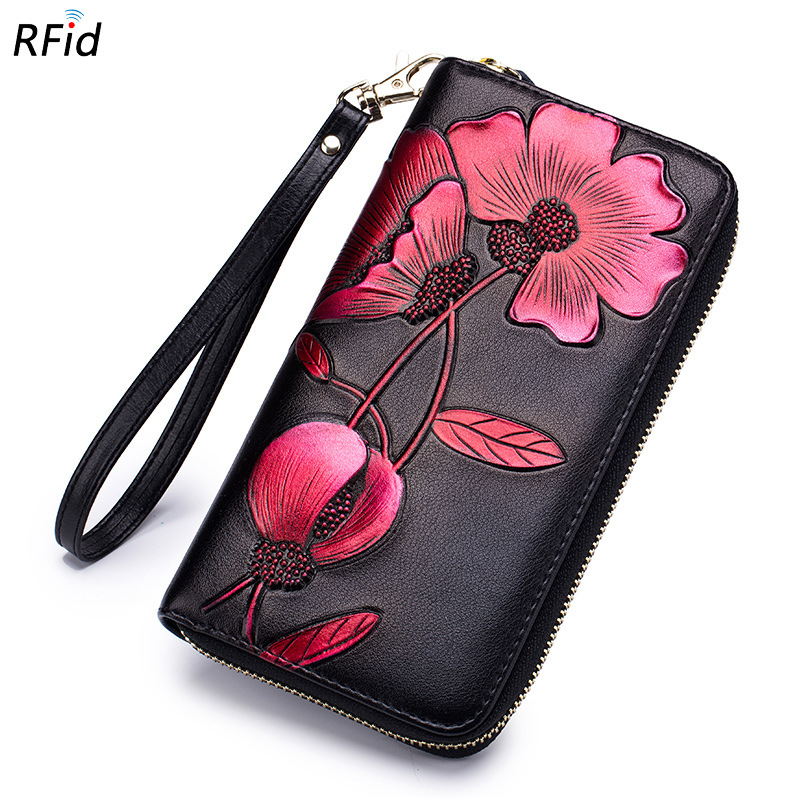 Uniego New Genuine Leather Women Wallet Long Zipper Coin Pocket RFID Floral Embossing Female Wallet carteira feminina DC366