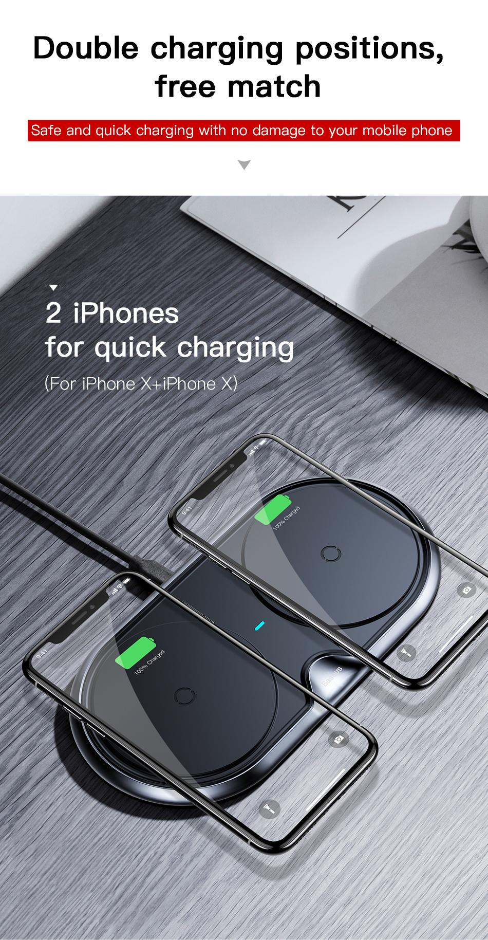 Wireless Charger of Baseus Dual For iPhone X XS Max Xr Samsung S9 S8 Note 8 9 10W Fast Wireless Charging Pad Dock Station Desktop 5