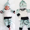 Newborn Toddler Baby Boy Girl Clothes Arrow Tops Pants Harem Hat Outfits Set
