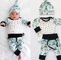 Recién nacido Niño Niña Bebé Ropa Flecha Tops Pantalones Harem Trajes Sombrero Conjunto