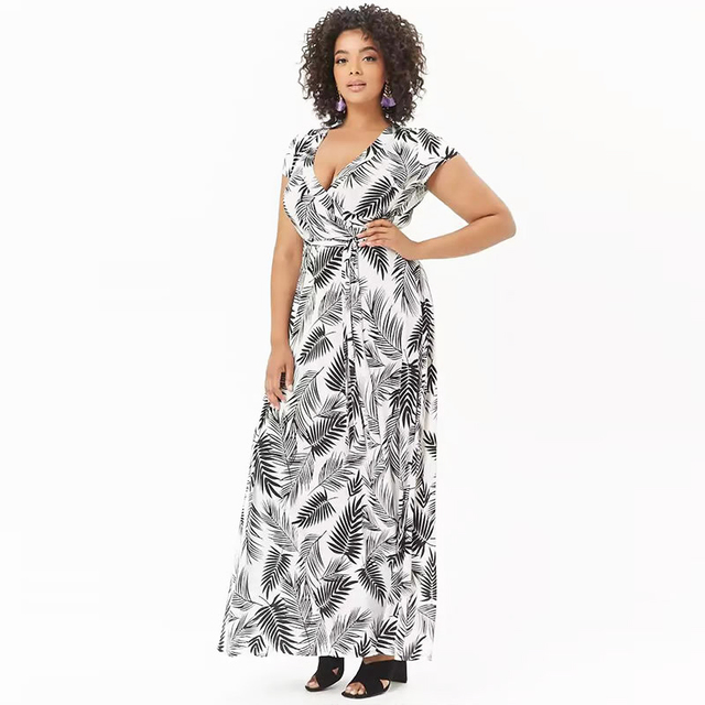 US $15.2 10% OFF|Women Floral Palm Leaf Print Sashes Plus Size Bohemian  Maxi Dress Ladies Casual Short Sleeve Deep V Neck Long Dress-in Dresses  from ...