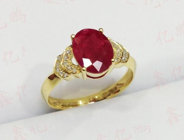 18 k gold inlaid natural Burmese ruby ring female 1.6 carats luxury and generous Birthday gift 1