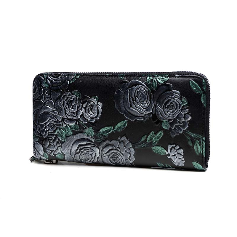 Embossing Flower Women Genuine Leather Lady Long Purse Vintage Clutch Party Hand Clutch Bag Wristlet Zipper Wallet Coin Holder
