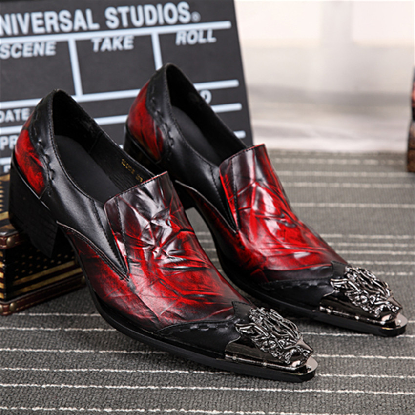 Luxury Spring Autumn Men Genuine Leather Shoes Mens Formal Red Business Wedding Dress Shoes Italy Designer Oxfords Creepers