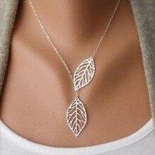 Корейская мода, тренд, дикая лесная основа, металлический лист, кулон, ожерелье, ключица, Короткая секция, двойной лист, ювелирные изделия