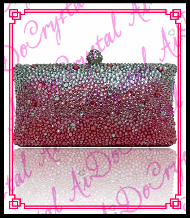 Aidocrystal Hot Sale Designer Hard case white and pink Crystal Stone Clutch font b Bag b