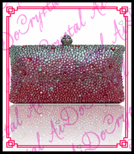 Aidocrystal Hot Sale Designer Hard case white and pink Crystal Stone Clutch Bag