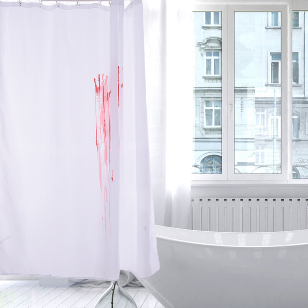 Mustache shower curtain - Halloween Novelty Blood Fingerprint Bathroom Waterproof Shower Curtain 12 Hooks Shower Curtain Screens China