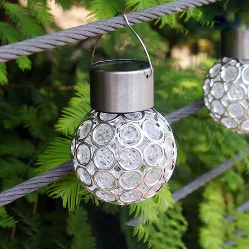 LED Solar Hanging Bulb Lamp LED Round Ball Lights For Outdoor Garden Yard Path Landscape Decor