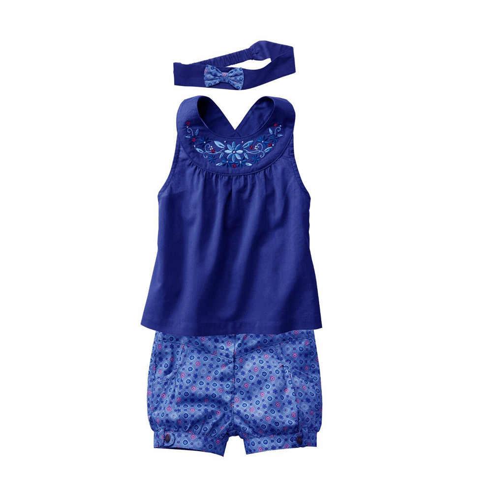 2015 New Girls Vest+Pants+Hair Band Three Piece Blue Suit Baby Summer Suit Children Costumes CL0770