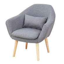 15%Simple modern fabric sofa chair removable and washable leisure chair study hotel cafe Nordic single solid wood chair(China)