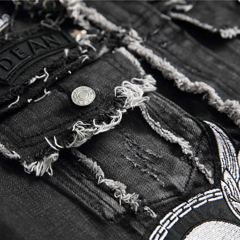 Sokotoo 남성 해골 자수 블랙 프린지 데님 조끼 트렌디 패치 패치 워크 리벳 편지 슬림 조끼 탱크 탑