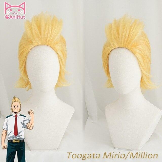 【AniHut】 Anime My Hero Academia Mirio Toogata milyon Cosplay peruk Boku hiçbir kahraman Academia Cosplay büyük 3 Mirio Toogata sarı peruk