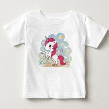 Cute pony print childrens T-shirt latest digital cartoon Unicorn children girl summer Short sleeve boy