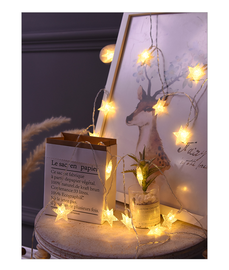 220V / 110V 10M 100Led Frosted Crackle Star Garland String Lights - Pencahayaan perayaan - Foto 5