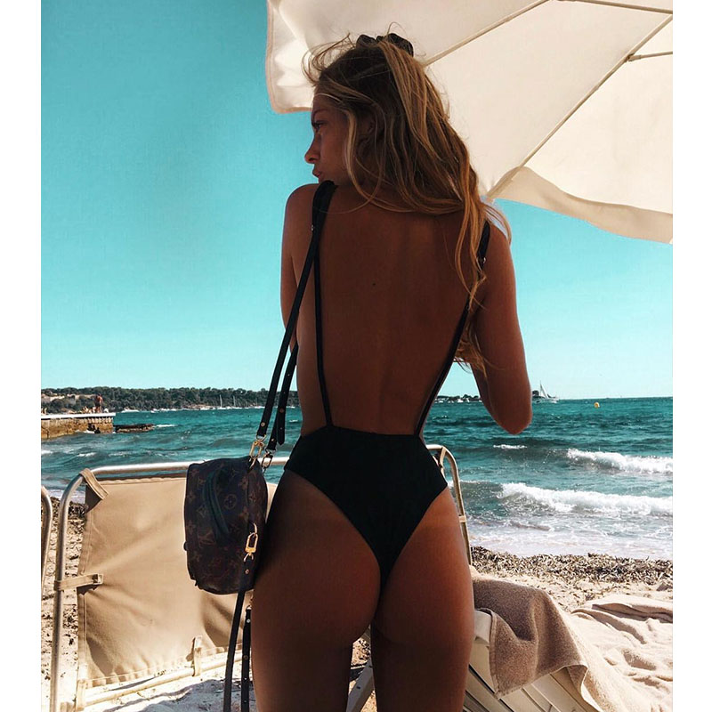 Sexy Swimwear Solid One Piece Thong Swimsuit 2018 Bandage Bathing Suit Women Summer Beach Wear Monokini Halter Bodysuit Swimsuit women solid one piece swimsuit halter backless bandage bodysuit monokini deep v neck sexy high waist vintage beach wear page 4