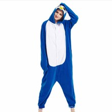 Women Onesie Penguin Cosplay Pajama Girl Adult Blue Cute Costume Cartoon Overalls Animal Party Jumpsuit Winter Sleep Suit