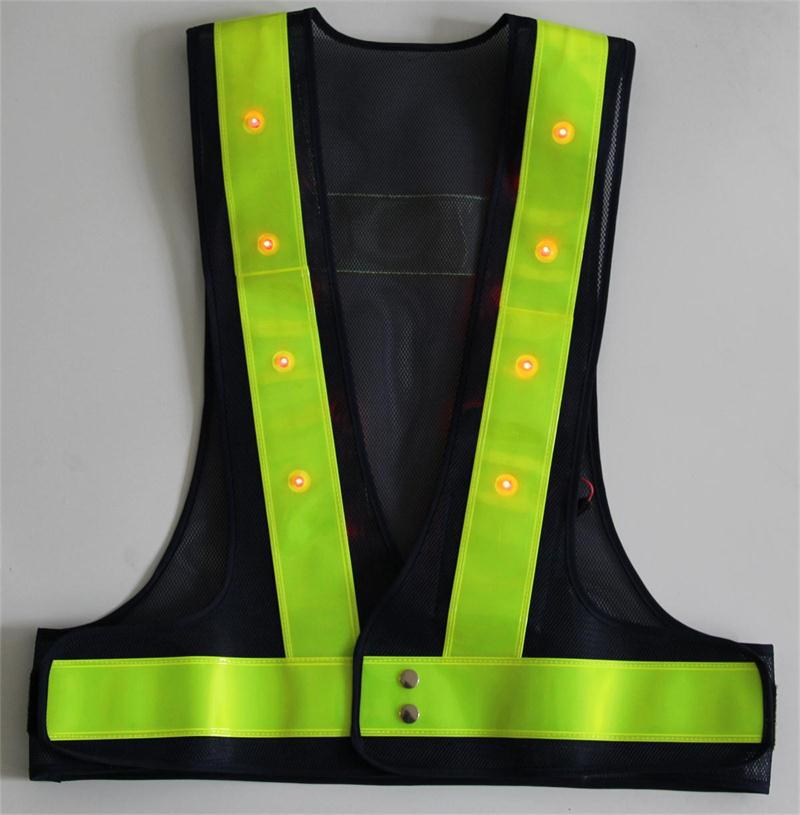 Senior Reflective LED Safety Warning Vest Thickening PVC Reflective Strip High Quality Mesh Customized Printing Word Sign high quality reflective red led light strip clip blinking safety bike walking running jogging