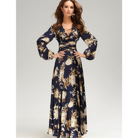 2018 Maxi Dress Women Long Sleeve Deep V Long Dress Floral Print Plus Size Dark Blue