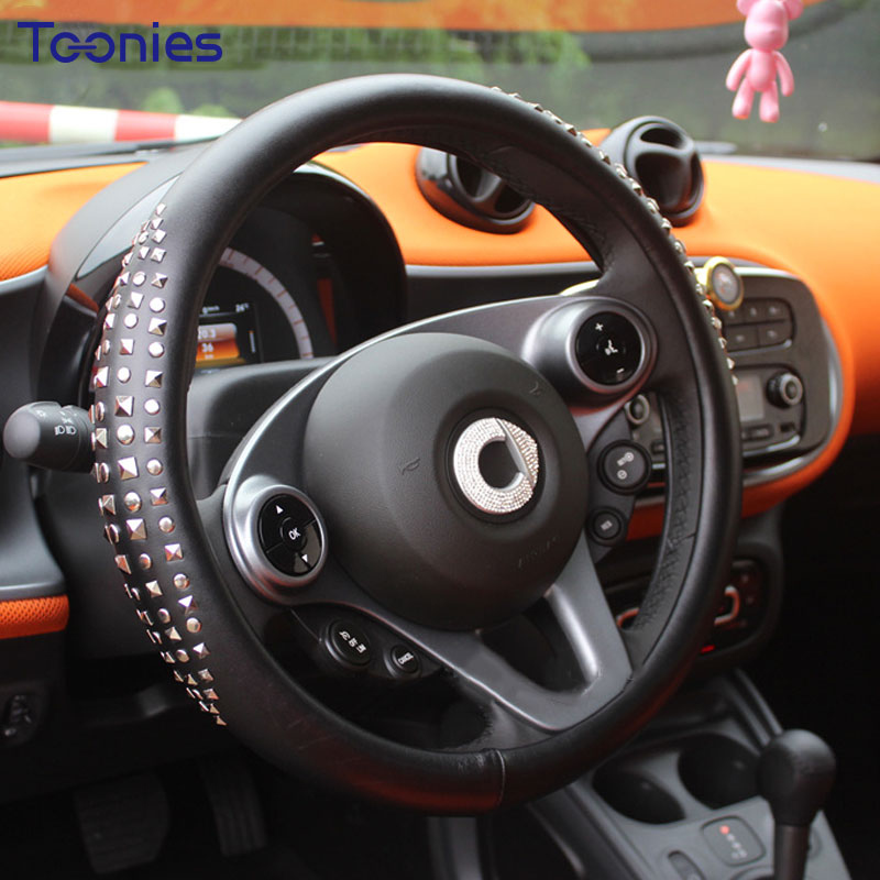 Rivet Car Steering Wheel Cover Smart Fortwo Ultra-fiber Leather Handlebar Wheel Covers Car Styling Steering-Wheel Accessories